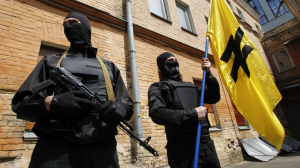 Fighters of Social Nationalist Assembly (SNA), part of ultra-nationalist Right Sector movement