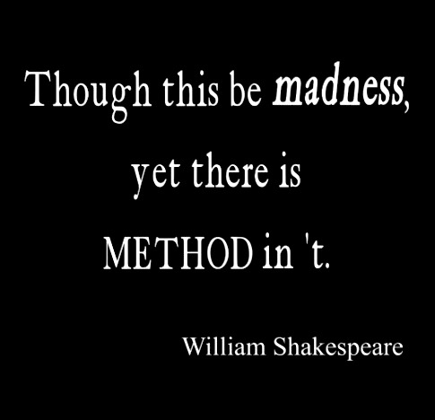 method to madness essay A method in hamlet madness essay, research paper a method in hamlet madness in hamlet, shakespeare brings together a theme of madness with two characters, one truly mad, and one only acting mad to serve a motive.